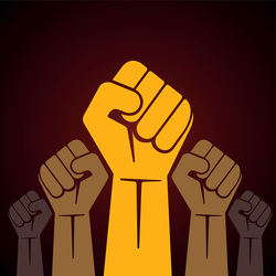image of raised fists of various shades of brown against a dark red background