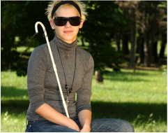Picture of young woman who appears to be blind