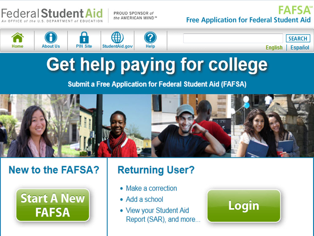 FAFSA website screen shot