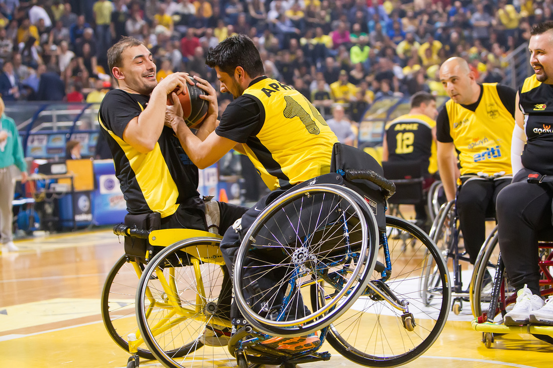 Picture of players during wheelchair basketball game