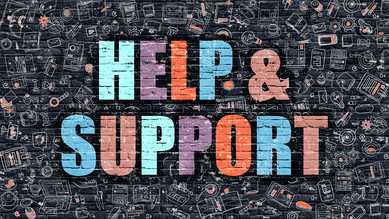 Graphic saying Help and Support