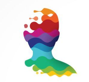 Colorful silhouette of a head