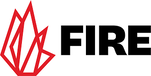 FIRE logo black letters with red flame